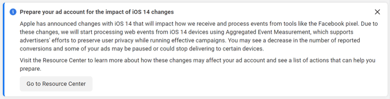 Facebook announcement- Prepare your ad account for the impact of iOS 14 changes