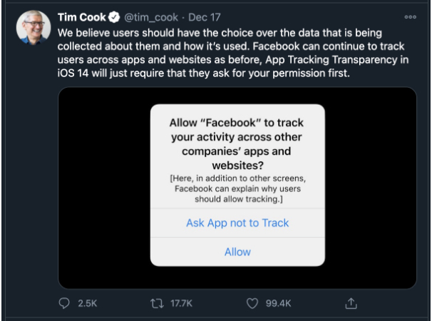Apple has stated that with their App Tracking Transparency policy (ATT)