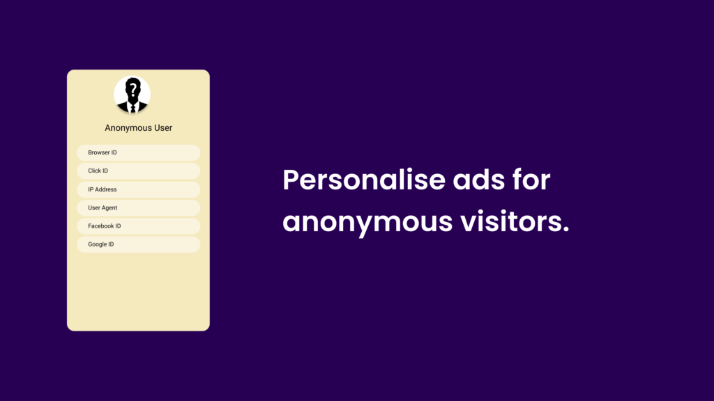 Personalise ads for anonymous visitors.