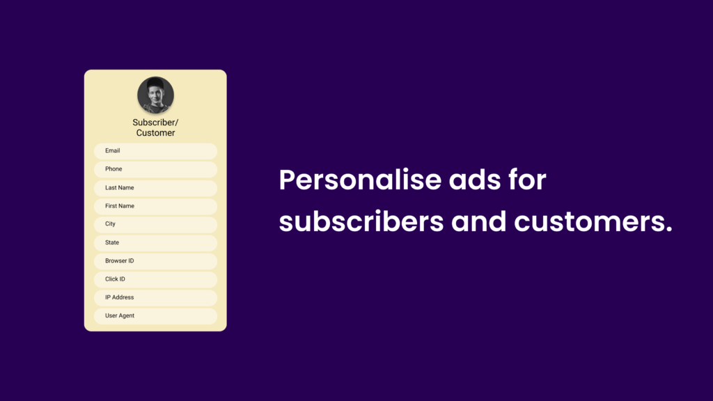 Personalise ads for subscribers and customers.